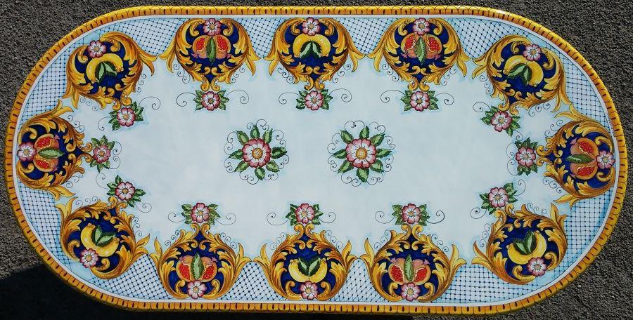 Tavolo ceramica ~ Tavolo in pietra lavica ceramizzata decoro corallo rosso tavoli