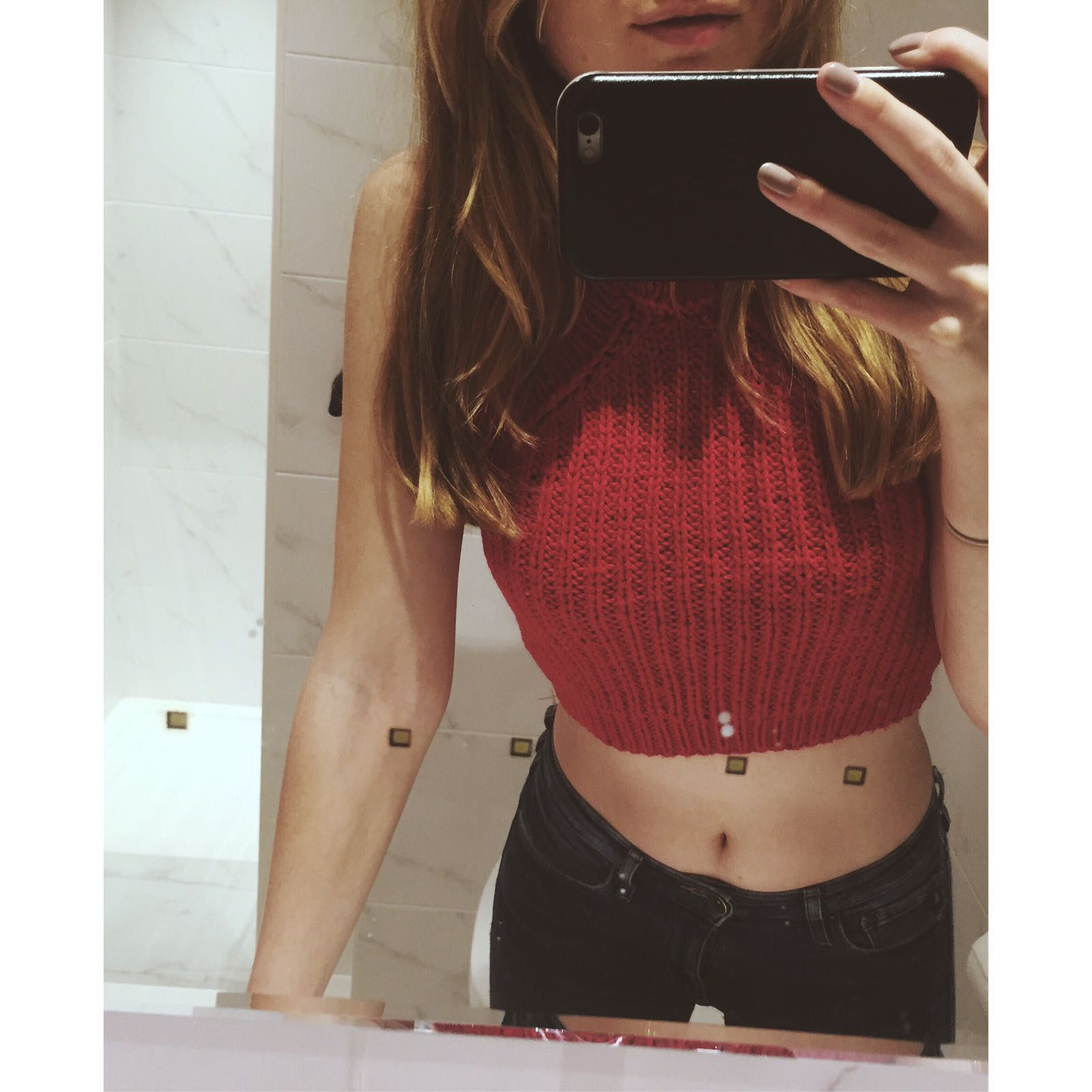 I knit this red cotton halterneck crop top for my sister in law and ...