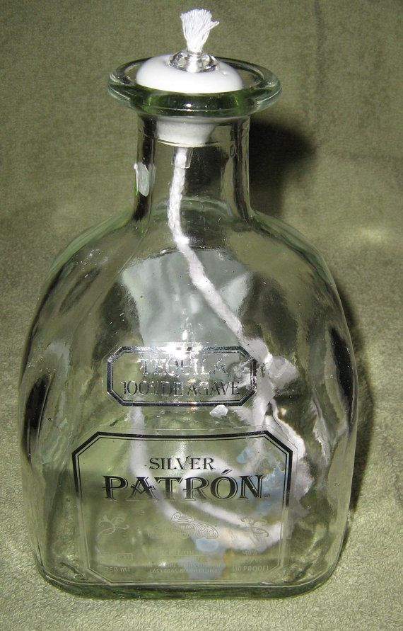 Patron Silver Tequila Bottle Oil Lamp by