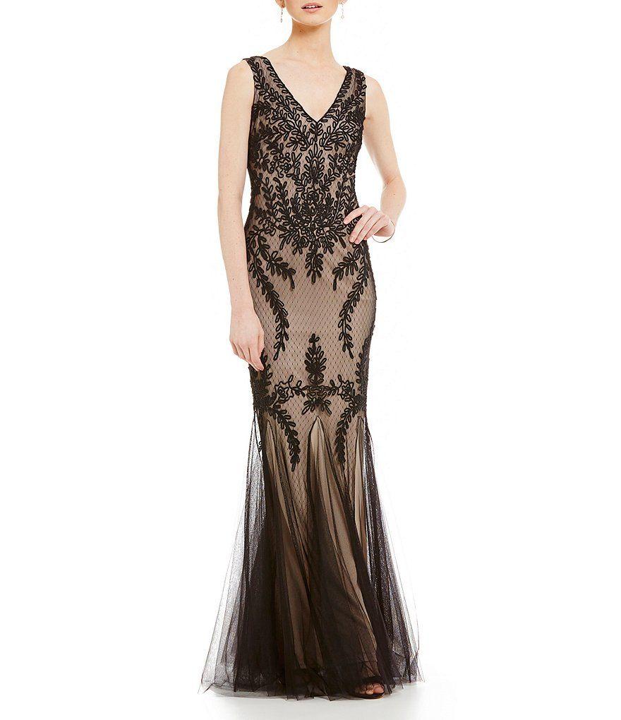 Cachet illusion mermaid vneck sleeveless gown illusions dillards