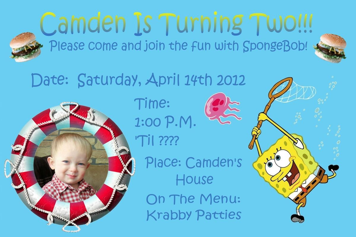 Download Now Spongebob 2 Years Old Birthday Party Invitations ...