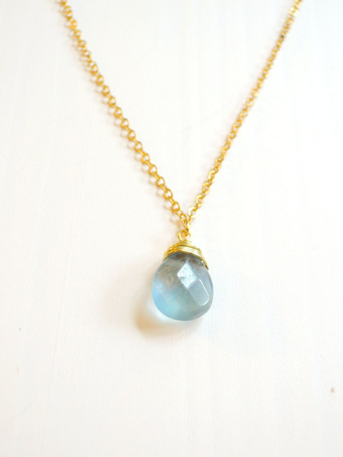 Ocean blue faceted pear shaped drop necklace sea by LaMarinella, $24.90