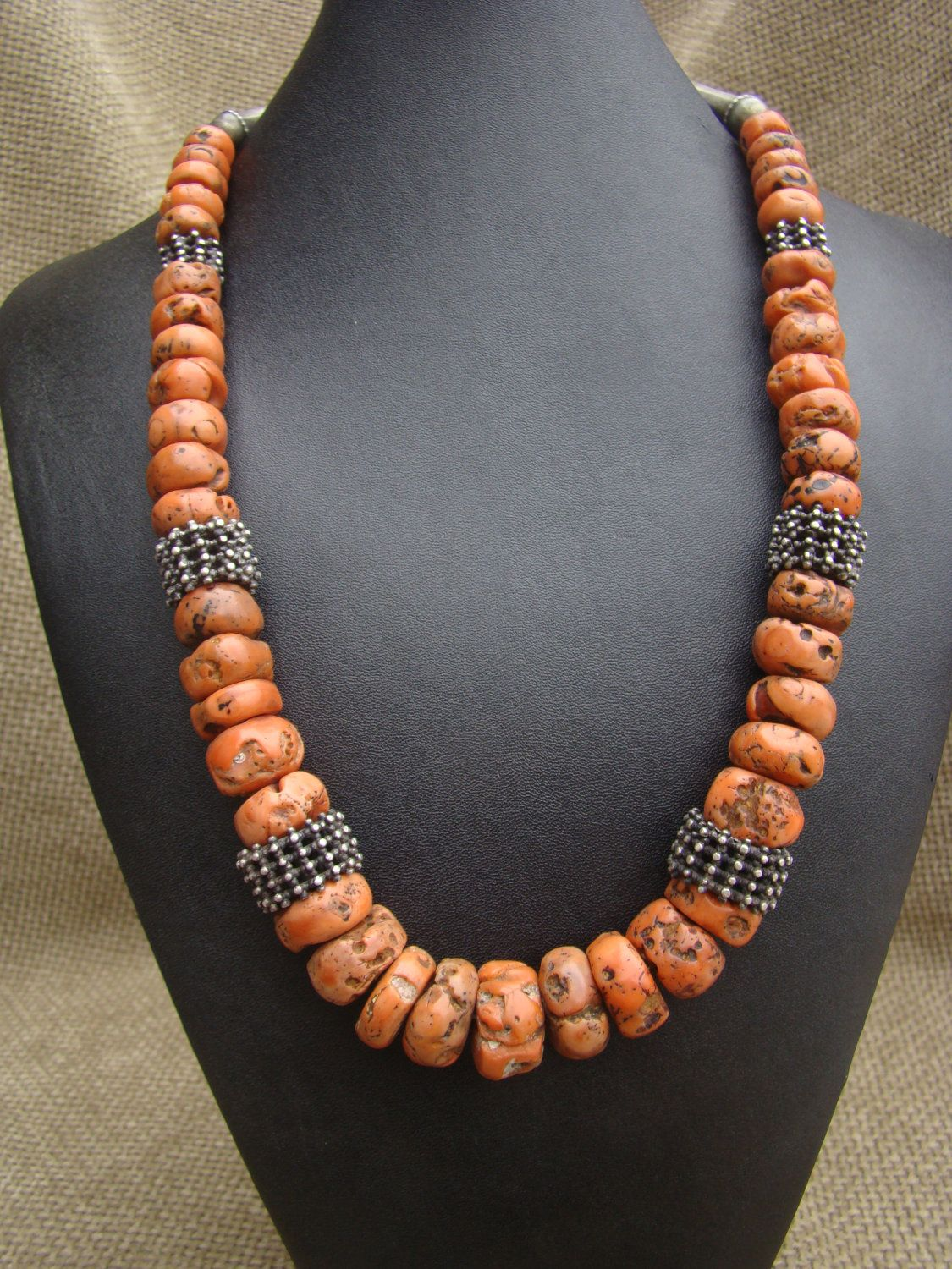 Yemen Old Coral And Silver Necklace Jewelry Coral