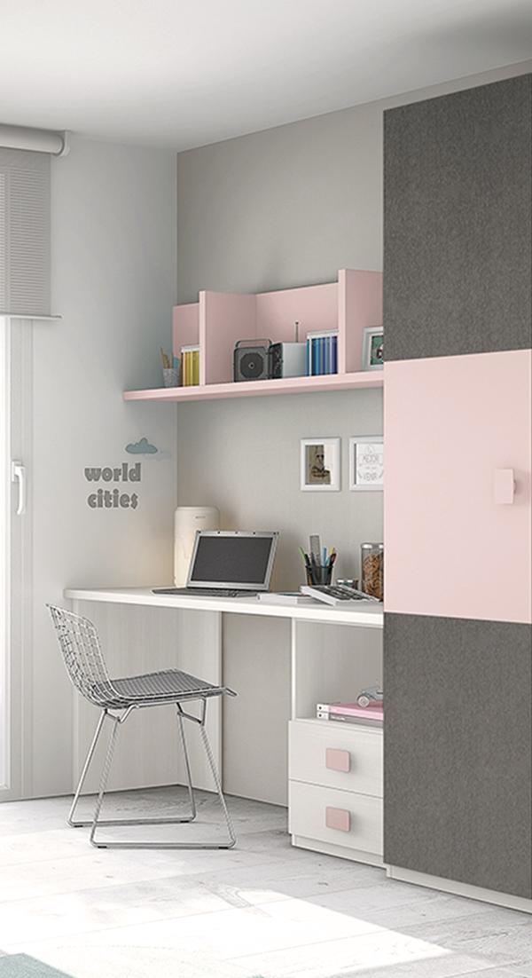 Mueble melamina rosa y blanco tonos grises muebles de - Dormitorios infantiles blancos ...