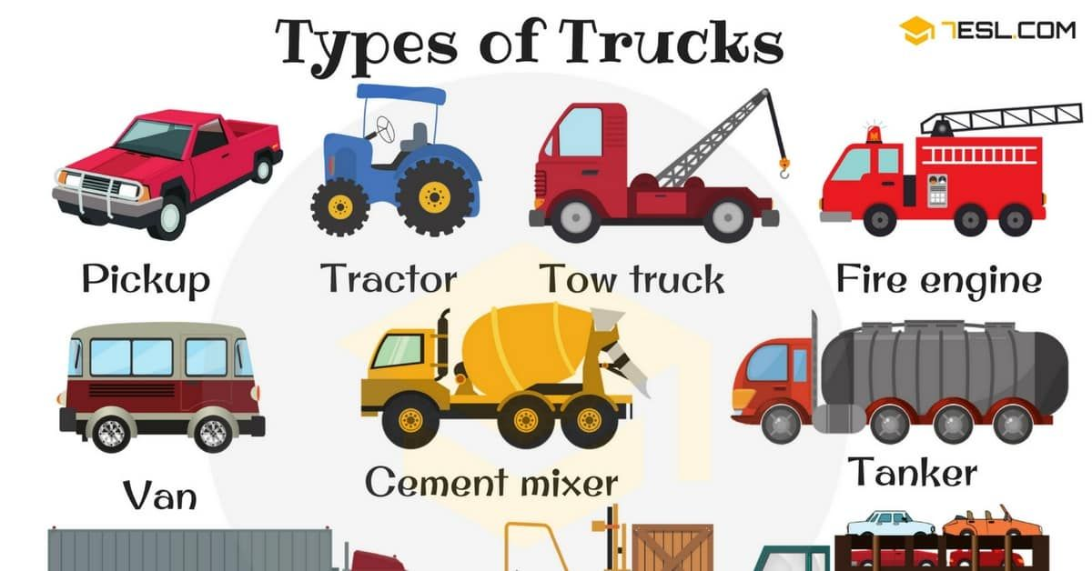 Types Of Trucks In English Vocabulary English Fun Learn