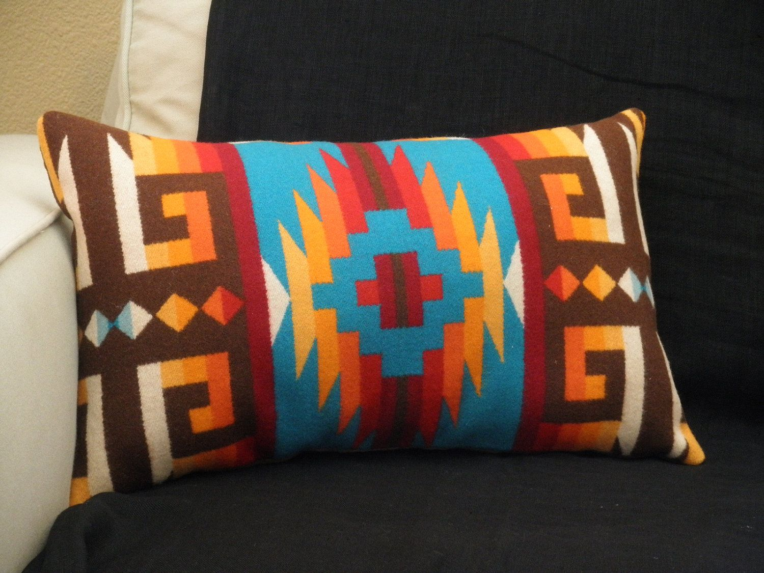 Navajo Pillow Bold Graphic Tribal Meets Bright Pendleton