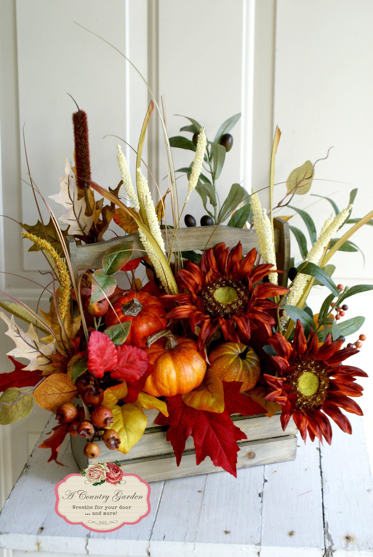 Fall Centerpiece Rustic Autumn Arrangement Wooden Rustic Etsy Rustic Fall Centerpieces Fall Centerpiece Fall Pumpkin Centerpieces