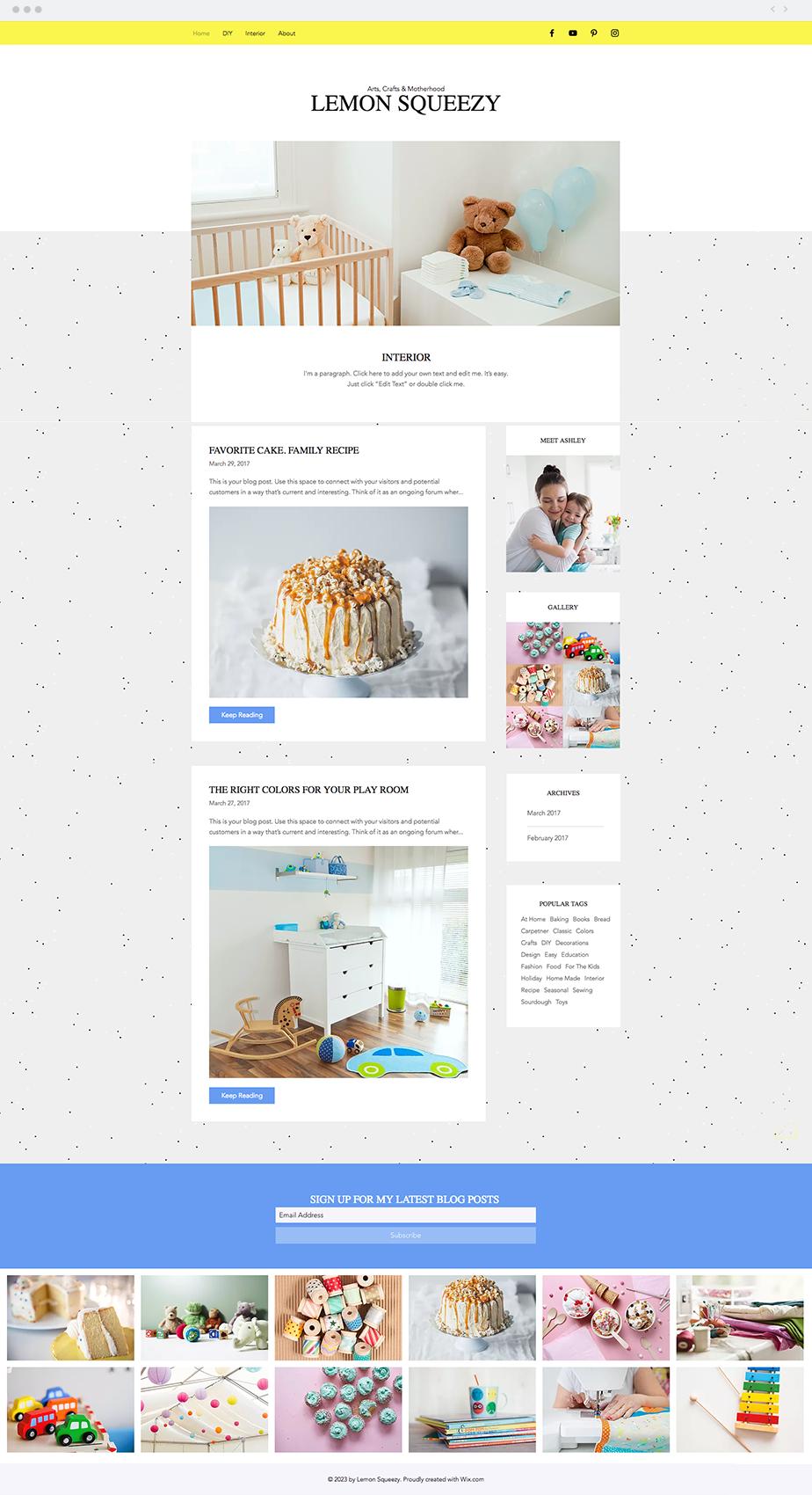 Crafty Mom Blog Website Template | Wix Website Templates | Pinterest ...