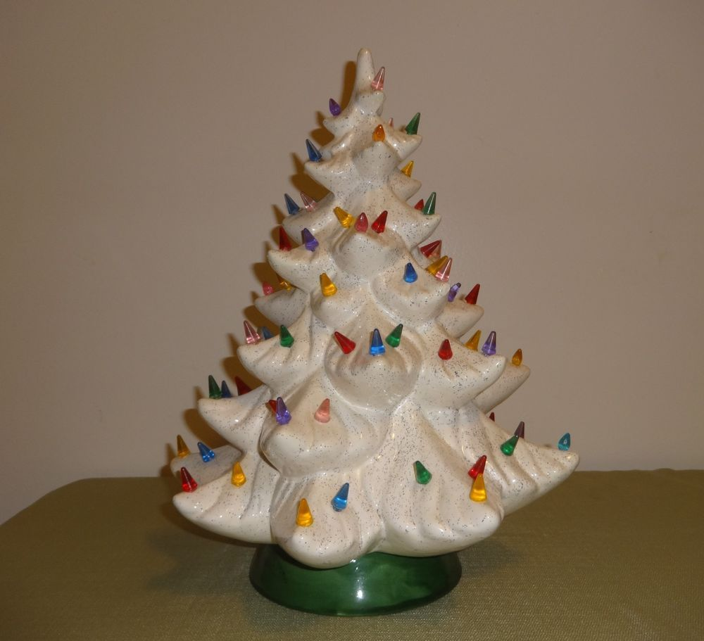Vintage 16 Speckled White Ceramic Christmas Tree With Multi Colored