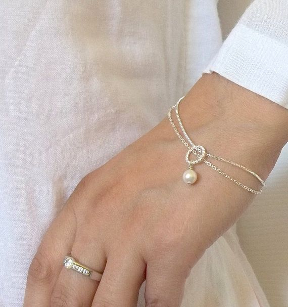 silver pearl charm bracelet thin minimalist by