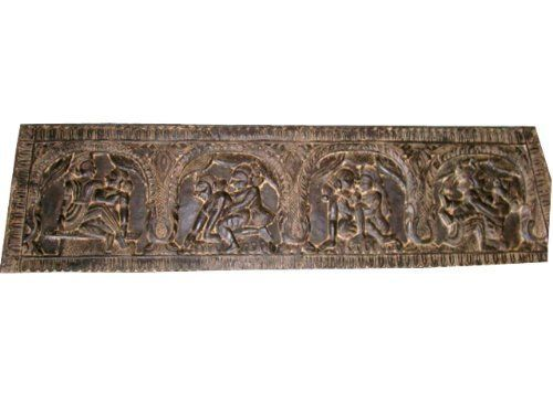 Indian Carving Hindu Antique Bed Decor Hand Carved Scalloped Top Kamasutra  Headboard India Furniture 72 Inch