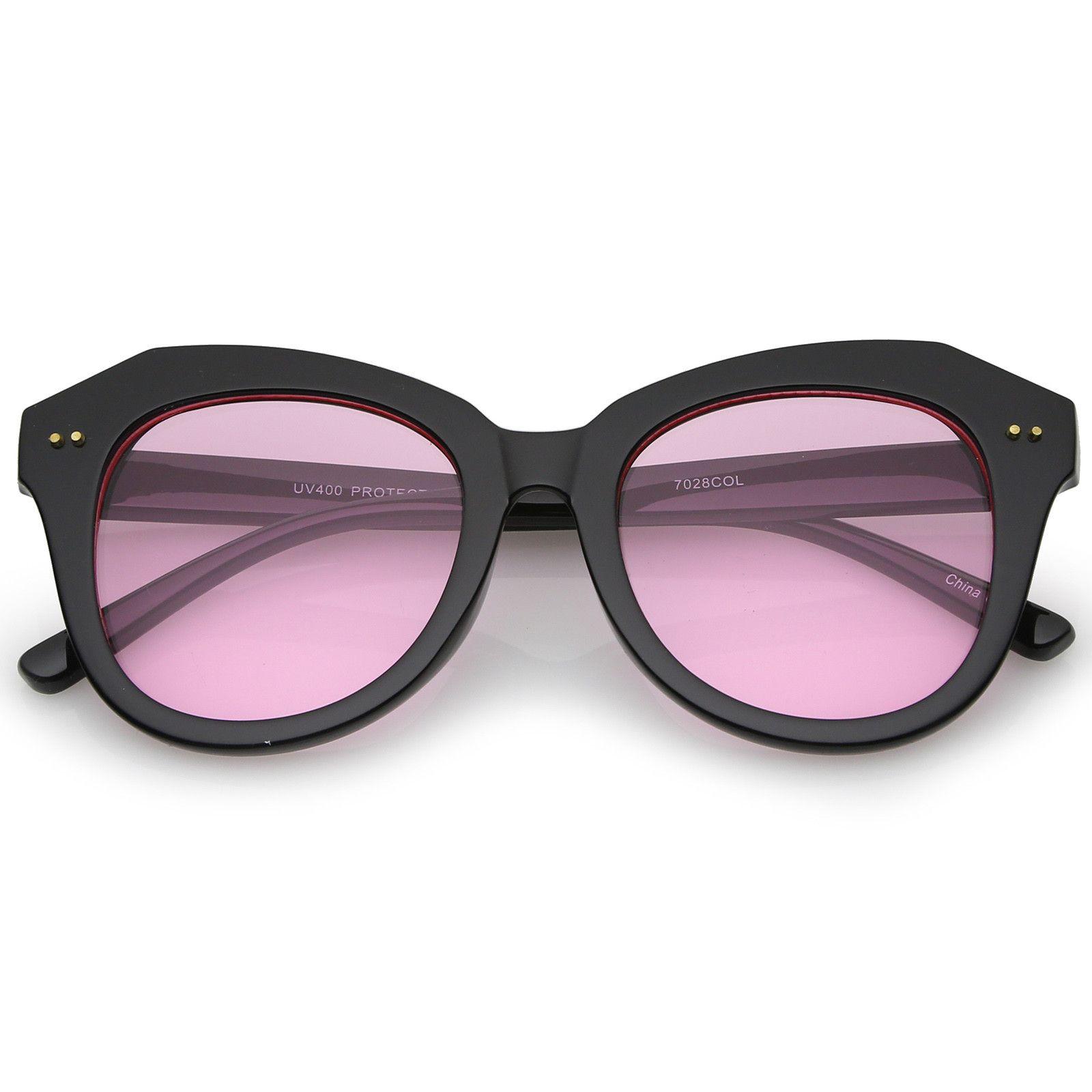 6ab95701beb Women s Oversize Horn Rimmed Colored Round Lens Cat Eye Sunglasses 52mm   sunglass  bold  sunglasses  frame  oversized  mirrored  summer  cateye   purple   ...