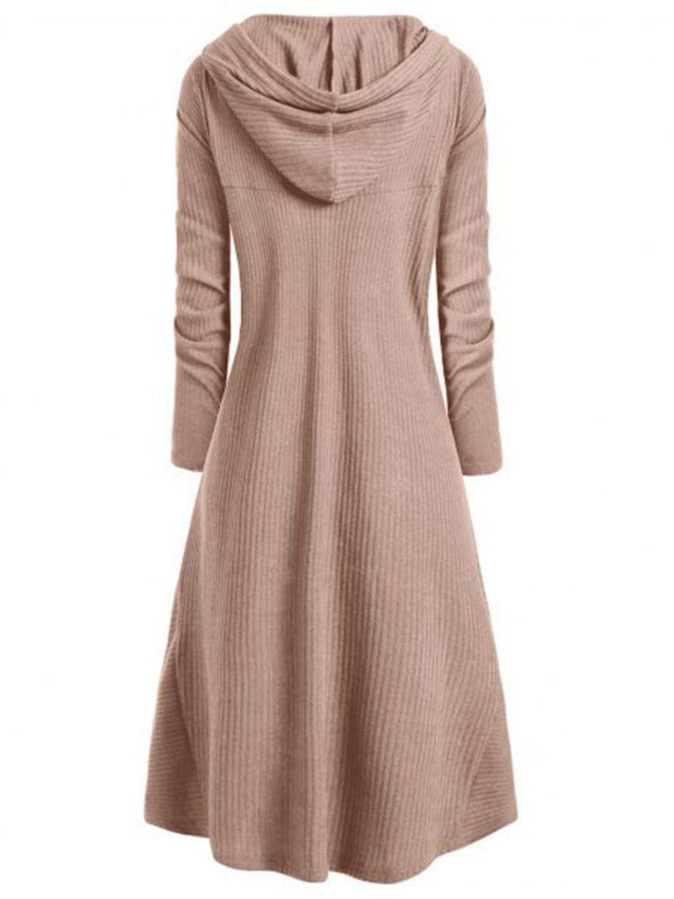 best service ad951 06557 Plus Size S-5XL Irregular Hem Solid Hooded Sweatshirt Dress ...