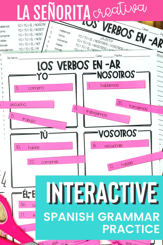 Present Tense Ar Verbs Spanish Sorting Activity For Regular Ar Verbs Sorting Activities Word Sort Activities Pre Writing Activities [ 1500 x 1000 Pixel ]