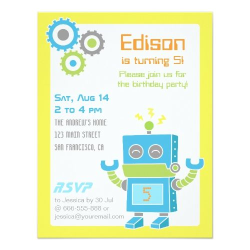 Colourful cute robot birthday party invitations party invitations colourful cute robot birthday party invitations filmwisefo