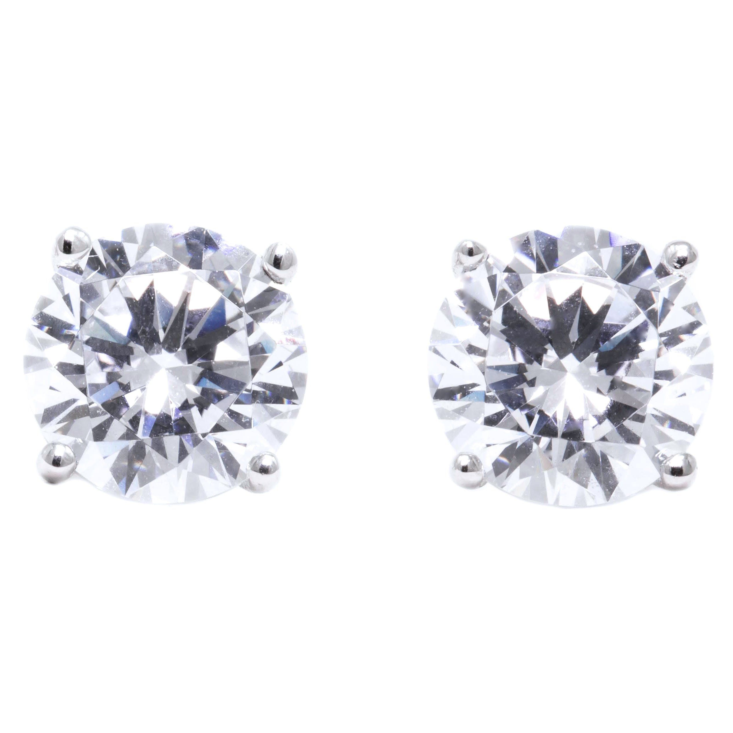 2ct Round Cut Stud Solitaire Earrings Martini Solid 14k White Gold Screw Back