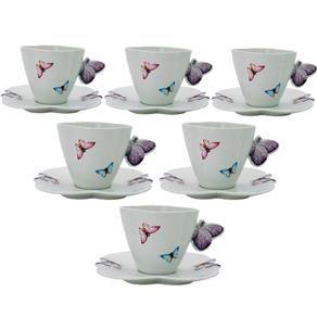 Jogo Xicara De Cafe Borboletas Wolff Porcelana 100ml 6 Pessoas Pontofrio Com Xicaras De Cha Xicaras De Porcelana Jogo De Xicaras