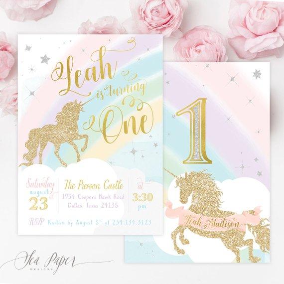 Unicorn 1st Birthday Invitation First Girl Invite Magi