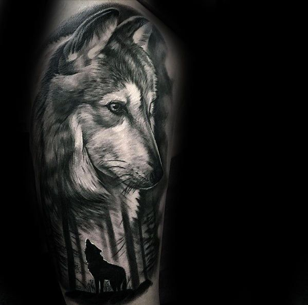 50 Realistic Wolf Tattoo Designs For Men Canine Ink Ideas Wolf Tattoo Design Wolf Tattoos Wolf Tattoo Sleeve
