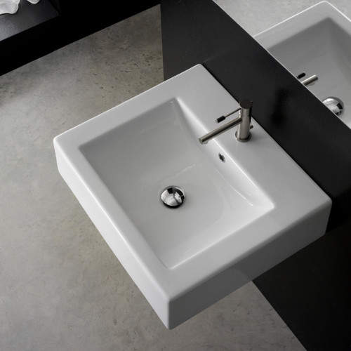 Ceramic 21 Wall Mount Bathroom Sink With Overflow Wall Mounted