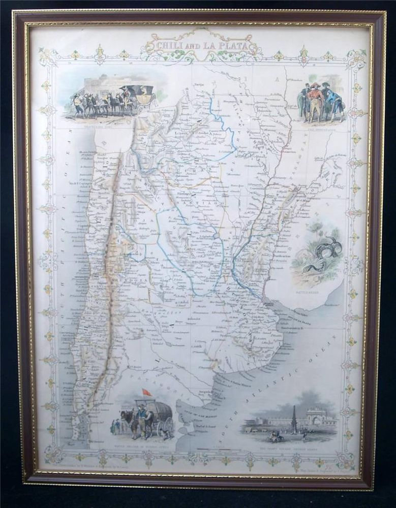 Framed Antique Engraved Map Chili La Plata Argentina Tallis