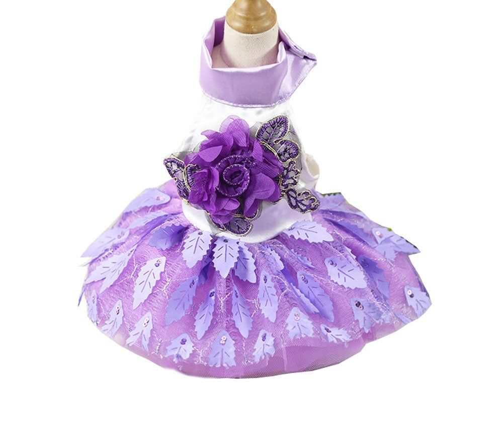 Bbeart pet clothes small dogs sweet princess skirt girl tutu small pet wedding dress tiny dog cotton dress summer princess purple sleeveless leaf skirt cat puppy flower clothes for summer spring continue to the ombrellifo Image collections