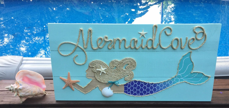 Handmade Mermaid Cove Mermaid with Rope Beach Pallet Art ...