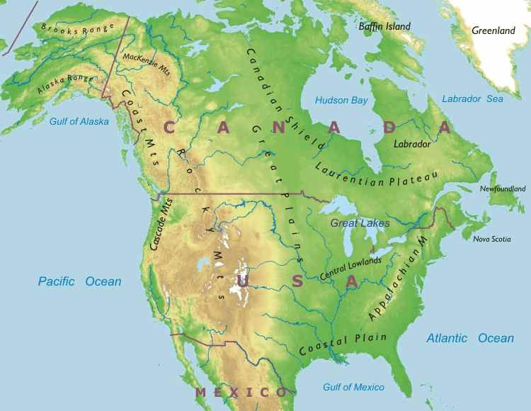 North American Mountain Ranges Google Search School - Physical features of canada and the united states