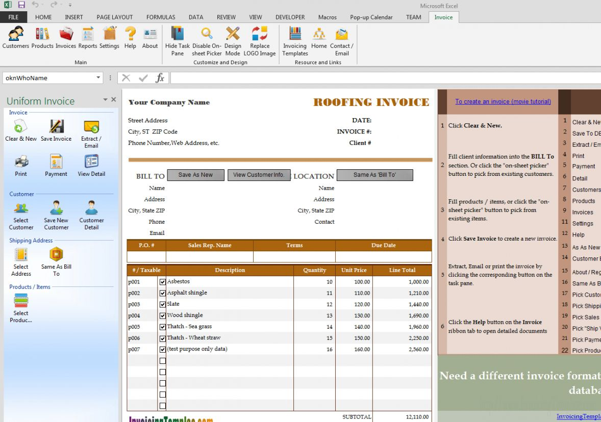 Browse Our Example Of Roofing Contractor Invoice Template Invoice Template Roofing Services Receipt Template