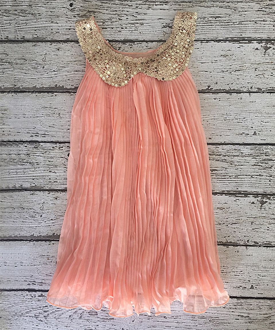 Pink and gold dress for kids  Another great find on zulily Peach u Gold SequinCollar Dress