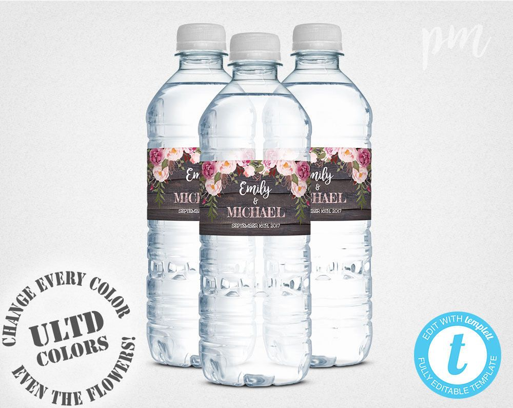print your own rustic floral water bottle labels for any event including weddings baby showers bridal showers birthdays and more this label template