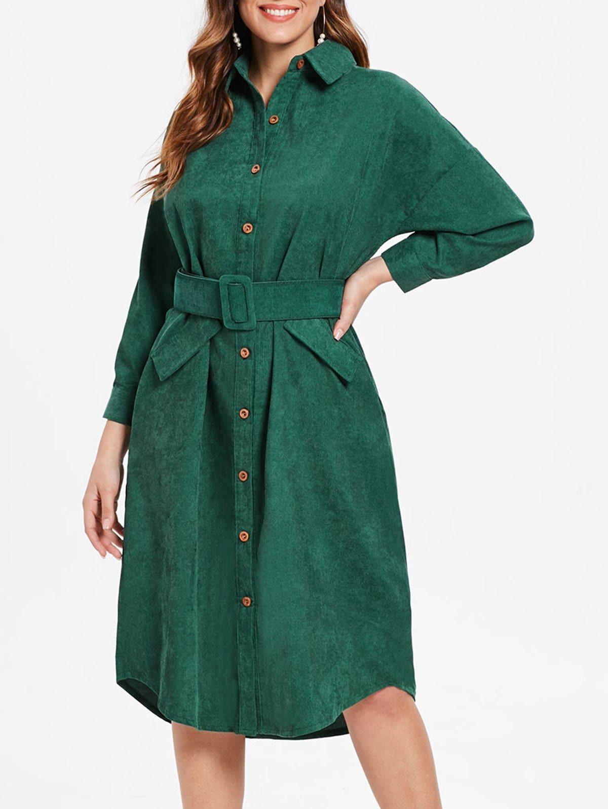 Cuff Sleeve Belted Corduroy Dress Corduroy Dress Maxi Dress Outfit Fall Trendy Fashion Women [ 1596 x 1200 Pixel ]