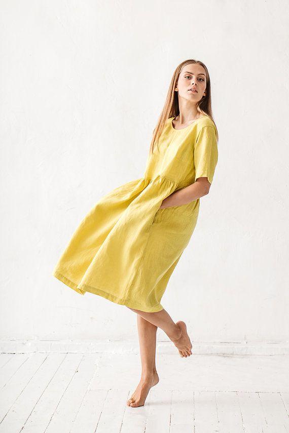Linen dress Lime yellow linen dress Minimal linen by Linenfox