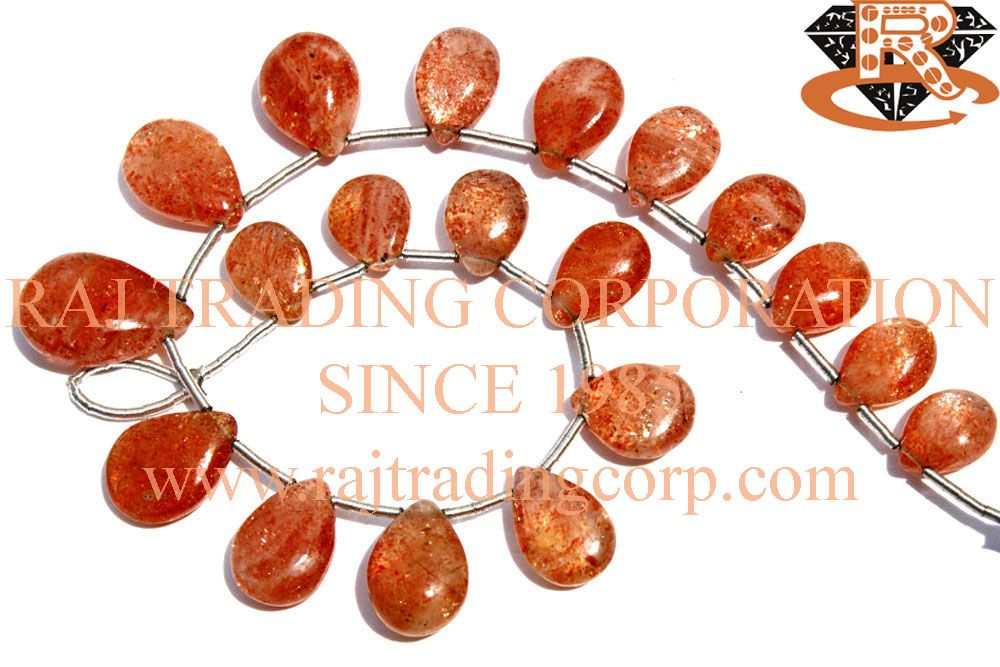 Sunstone Smooth Pear (Quality AA) Shape: Pear Smooth Length: 18 cm Weight Approx: 11 to 13 Grms. Size Approx: 7x9.5 to 11x16 mm Price $25.20 Each Strand