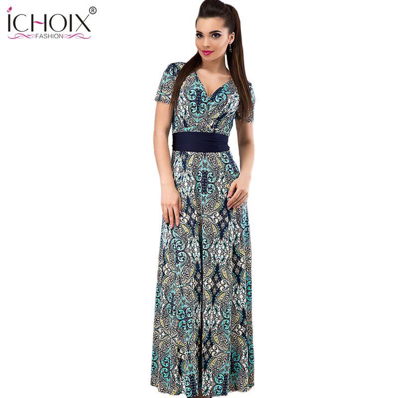 6d893ecd139 Big Size Women Summer Dress 2017 Online Shopping India V-Neck Beach Dresses  Summer Bohemia Style Printing Flower Maxi Dress