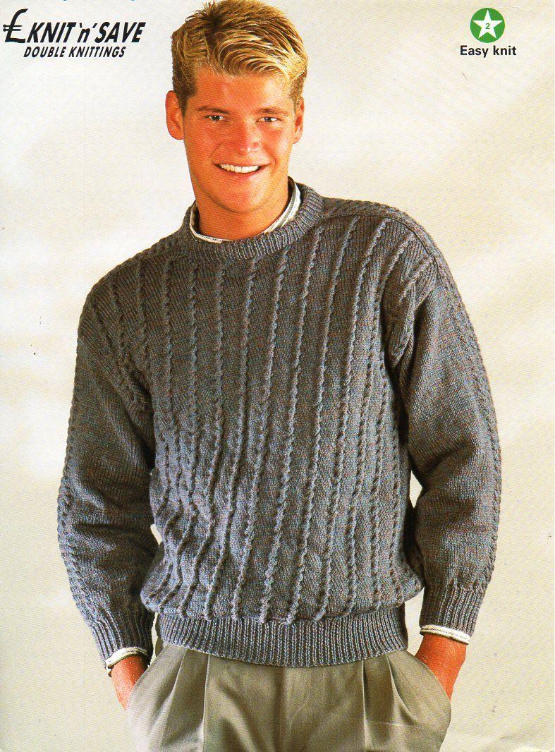 mens sweater knitting pattern PDF mens crew neck jumper textured ...