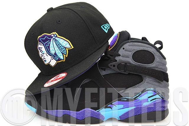 Chicago Blackhawks Aqua Hook Jet Black Air Jordan VIII Aqua New Era  Original Fit Snapback Hat e215872a887