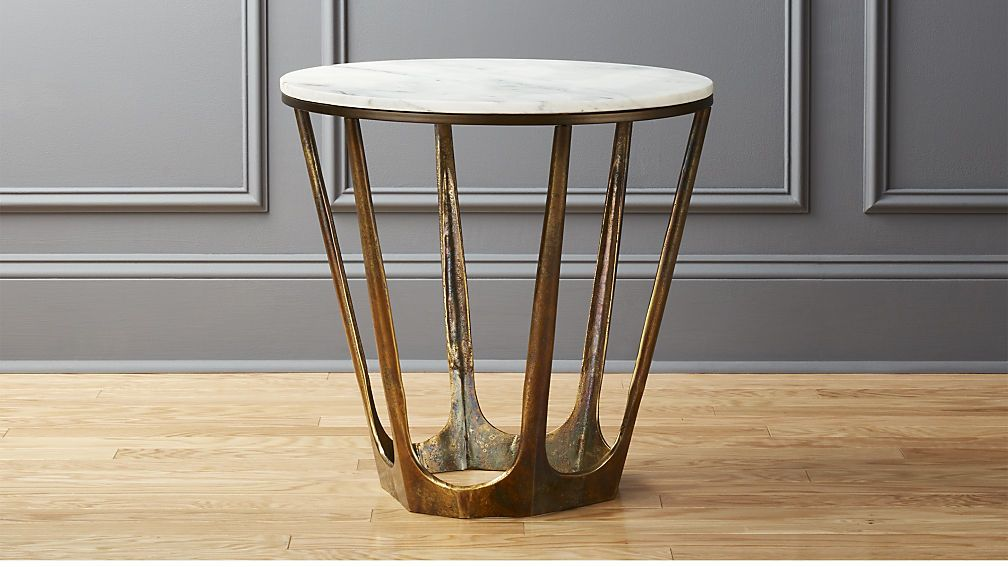 parker white marble side table cb2