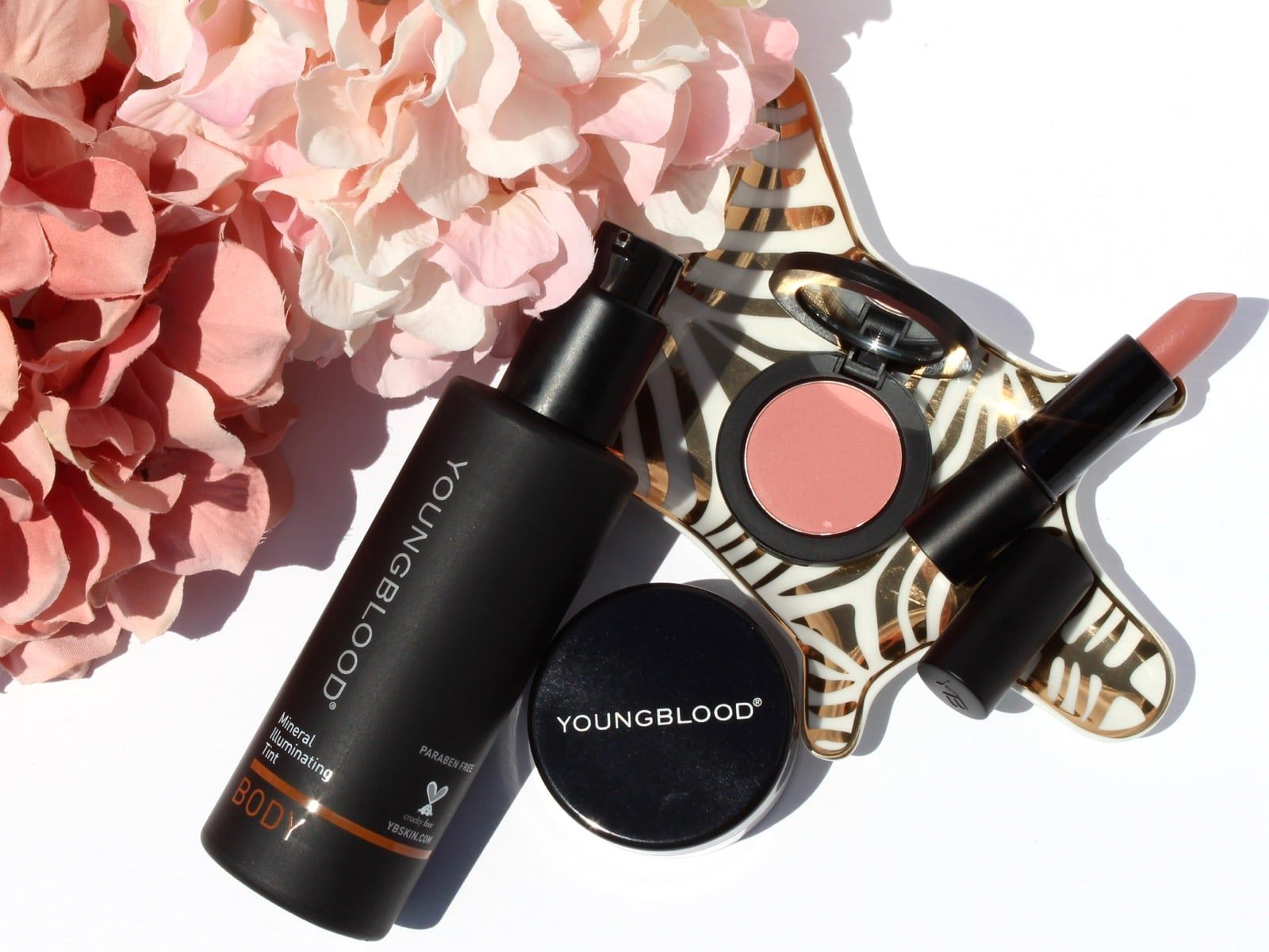 Youngblood Mineral Cosmetics Illuminating Tint Body, Lunar Dust, Blush, and Lipstick - Realizing Beauty