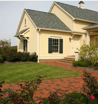 Green Roof Dark Green Shutters Traditional Brick Modern