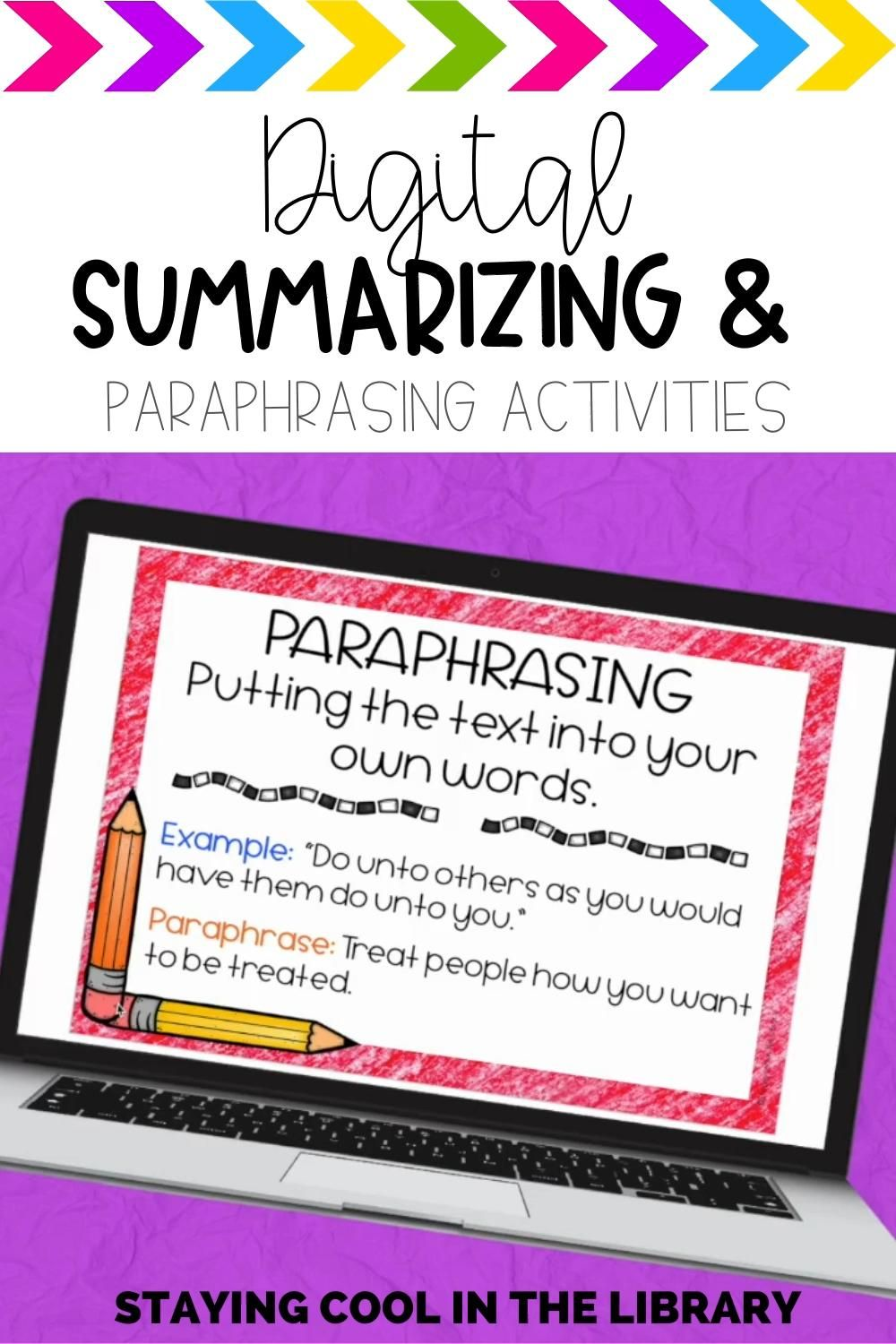 Summarizing And Paraphrasing Activitie For Google Slide Distance Learning Video Teacher Resources Motivational Activity