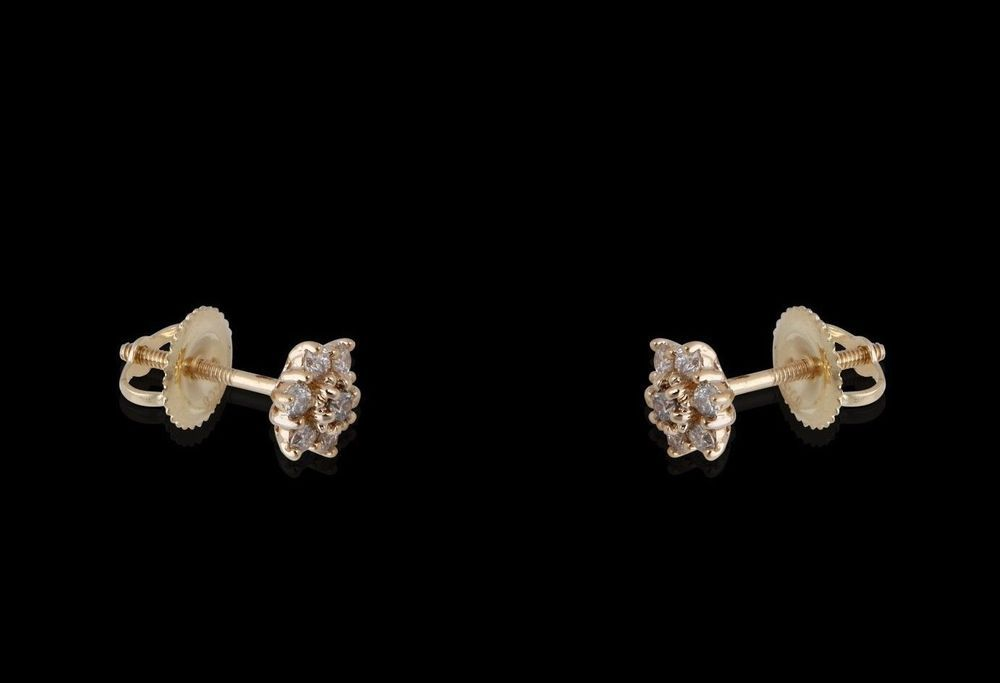 Natural 0.30ct Round Diamond Single Solitaire Stud Earring 14k Yellow Gold