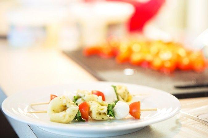 Pesto Tortellini Caprese Skewers