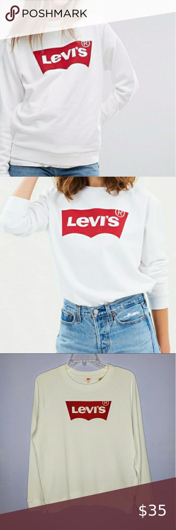 Levi S White Graphic Crewneck Sweatshirt Graphic Crew Neck Sweatshirts Crew Neck Sweatshirt Sweatshirts [ 1740 x 580 Pixel ]