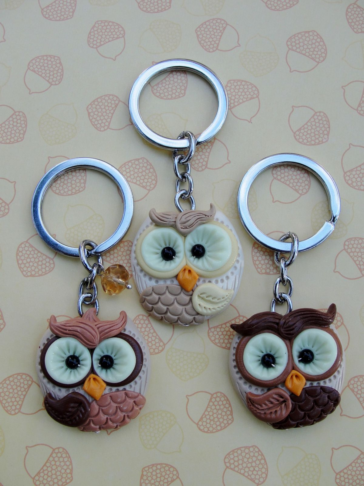 porte cl polymer owl hibou bijoux sac coiffure pinterest porte cl fimo et cl s. Black Bedroom Furniture Sets. Home Design Ideas