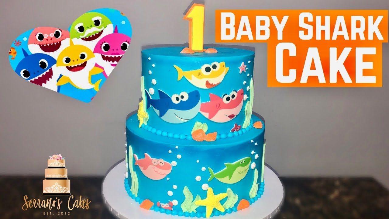 Baby shark cake using edible image shark cake edible