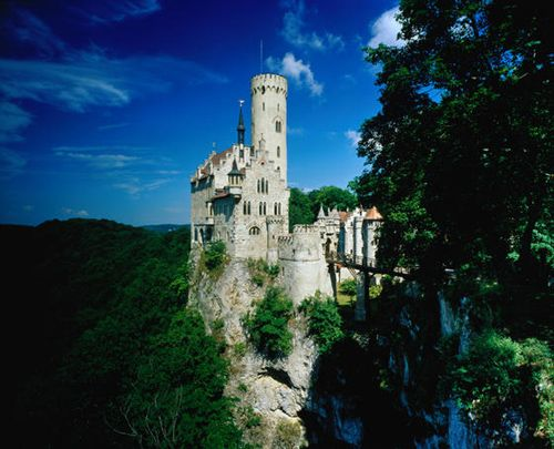 Elegant Lichtenstein Castle perched on a steep rock outcrop near Stuttgart The castle was built from