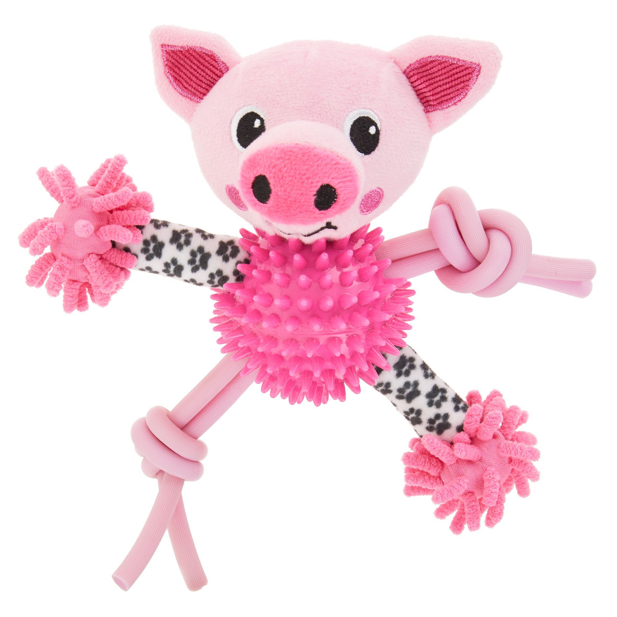 Top Paw Pig Noodle Puppy Dog Toy Plush Squeaker Dog Toys