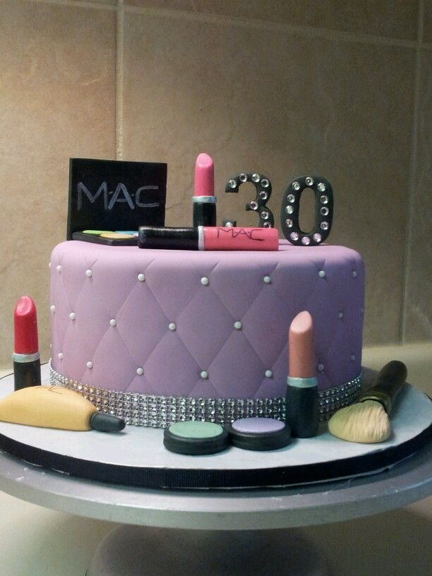 I made this cake for my sister who loves makeup and Im so happy