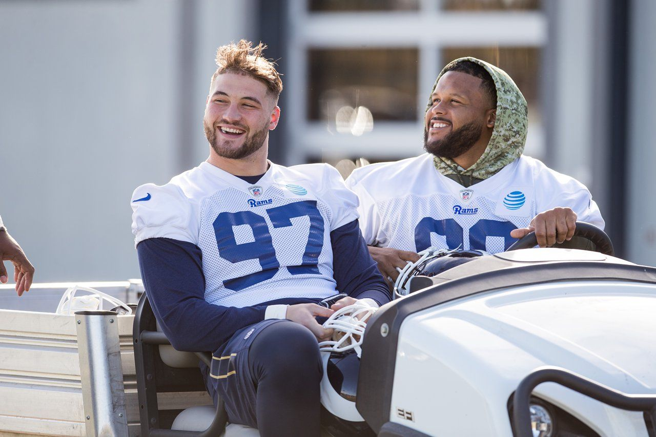 Morgan Fox And Aaron Donald Before Practice Athlete Los Angeles Rams Best Player